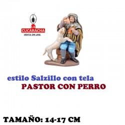 Figuras Belen Estilo Salzillo con tela Grupo PASTOR CON PERRO 14 y 17 cm