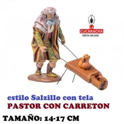 Figuras Belen Estilo Salzillo con tela Grupo PASTOR CON CARRETON 14 y 17 cm