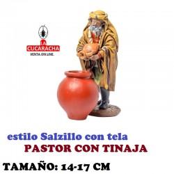 Figuras Belen Estilo Salzillo con tela Grupo PASTOR CON TINAJA 14 y 17 cm