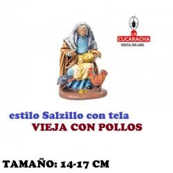 Figuras Belen Estilo Salzillo con tela Grupo VIEJA CON POLLOS 14 y 17 cm