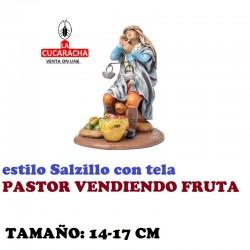 Figuras Belen Estilo Salzillo con tela Grupo PASTOR VENDIENDO FRUTA 14 y 17 cm