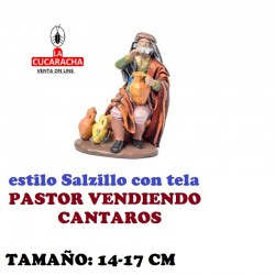 Figuras Belen Estilo Salzillo con tela Grupo PASTOR VENDIENDO CANTAROS 14 y 17 cm