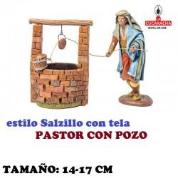 Figuras Belen Estilo Salzillo con tela Grupo PASTOR CON POZO 14 y 17 cm