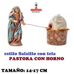 Figuras Belen Estilo Salzillo con tela Grupo PASTORA CON HORNO 14 y 17 cm