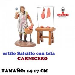 Figuras Belen Estilo Salzillo con tela Grupo CARNICERO 14 y 17 cm