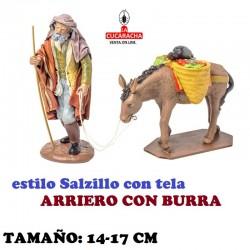 Figuras Belen Estilo Salzillo con tela Grupo ARRIERO CON BURRA 14 y 17 cm