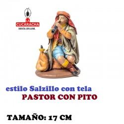 Figuras Belen Estilo Salzillo con tela Grupo PASTOR CON PITO 17 cm