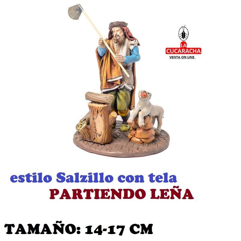Figuras Belen Estilo Salzillo con tela Grupo PARTIENDO LEÑA 14 y 17 cm