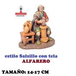 Figuras Belen Estilo Salzillo con tela Grupo ALFARERO 14 y 17 cm