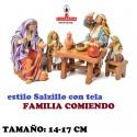 Figuras Belen Estilo Salzillo con tela Grupo FAMILIA COMIENDO 14 y 17 cm