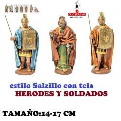 Figuras Belen Estilo Salzillo con tela Grupo HERODES Y SOLDADOS 14 y 17 cm