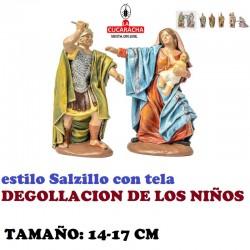 Figuras Belen Estilo Salzillo con tela Grupo-DEGOLLACION DE LOS NIÑOS 14 y 17 cm
