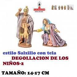 Figuras Belen Estilo Salzillo con tela Grupo-2-DEGOLLACION DE LOS NIÑOS 14 y 17 cm