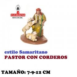 Figuras Belen Estilo Samaritano PASTOR CON CORDEROS 7-9-12 cm