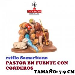 Figuras Belen Estilo Samaritano PASTOR EN FUENTE CON CORDEROS 7-9 cm