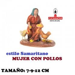 Figuras Belen Estilo Samaritano MUJER CON POLLOS 7-9-12 cm
