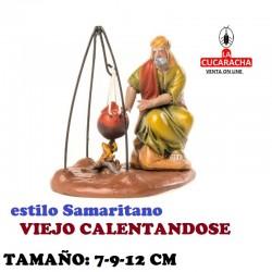 Figuras Belen Estilo Samaritano VIEJO CALENTANDOSE 7-9-12 cm