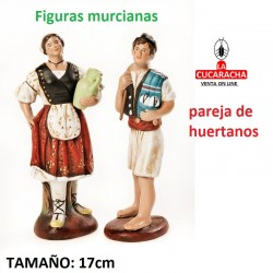 Figuras Murcianas Tradicionales PAREJA HUERTANOS DE PIE 17 CM