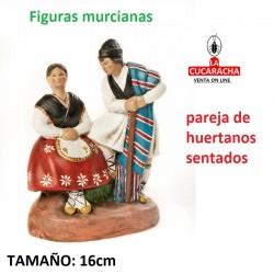 Figuras Murcianas Tradicionales PAREJA HUERTANOS SENTADA 16 CM