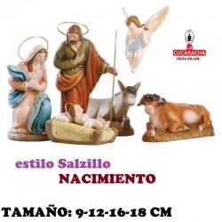 Figuras Belen Estilo Salzillo en barro NACIMIENTO 9-12-16-18 CM