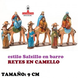 Figuras Belen Estilo Salzillo en barro REYES EN CAMELLO 9 CM