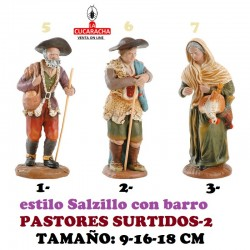 Figuras Belen Estilo Salzillo en barro-2-PASTORES SURTIDOS 9-16-18 CM