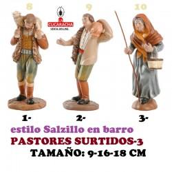 Figuras Belen Estilo Salzillo en barro-3-PASTORES SURTIDOS 9-16-18 CM