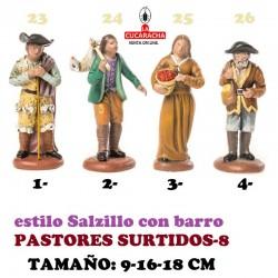 Figuras Belen Estilo Salzillo en barro-8-PASTORES SURTIDOS 9-16-18 CM
