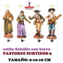 Figuras Belen Estilo Salzillo en barro-9-PASTORES SURTIDOS 9-16-18 CM