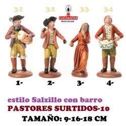 Figuras Belen Estilo Salzillo en barro-10-PASTORES SURTIDOS 9-16-18 CM