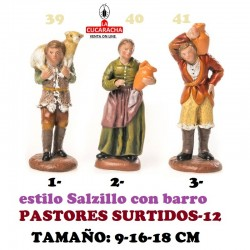 Figuras Belen Estilo Salzillo en barro-12-PASTORES SURTIDOS 9-16-18 CM