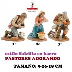 Figuras Belen Estilo Salzillo en barro PASTORES ADORANDO 9-16-18 CM