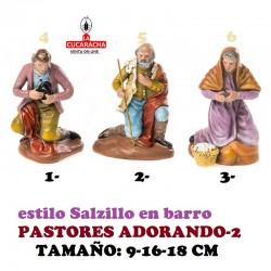 Figuras Belen Estilo Salzillo en barro-PASTORES ADORANDO 9-16-18 CM.