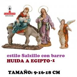 Figuras Belen Estilo Salzillo en barro HUIDA A EGIPTO 9-16-18 CM