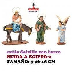 Figuras Belen Estilo Salzillo en barro-2-HUIDA A EGIPTO 9-16-18 CM