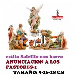Figuras Belen Estilo Salzillo en barro GRUPO ANUNCIACION A LOS PASTORES 9-16-18 CM