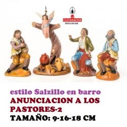 Figuras Belen Estilo Salzillo en barro-2-GRUPO ANUNCIACION A LOS PASTORES 9-16-18 CM
