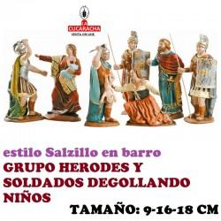 Figuras Belen Estilo Salzillo en barro GRUPO HERODES Y SOLDADOS 9-16-18 CM