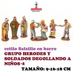 Figuras Belen Estilo Salzillo en barro-2- GRUPO HERODES Y SOLDADOS 9-16-18 CM
