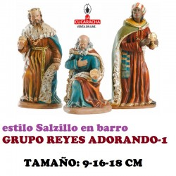 Figuras Belen Estilo Salzillo en barro GRUPO REYES ADORANDO 9-16-18 CM