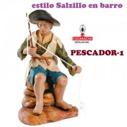 Figuras Belen Estilo Salzillo en barro GRUPO PESCADOR 9-16-18 CM.