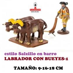 Figuras Belen Estilo Salzillo en barro GRUPO LABRADOR CON BUEYES 9-16-18 CM.