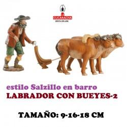 Figuras Belen Estilo Salzillo en barro- GRUPO LABRADOR CON BUEYES 9-16-18 CM.