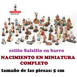 Figuras Belen Estilo Salzillo en barro BELEN COMPLETO MINIATURA 5 CM