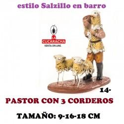 Figuras Belen Estilo Salzillo en barro Grupos-14-PASTOR CON 3 CORDEROS 9-16-18 CM
