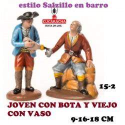 Figuras Belen Estilo Salzillo en barro Grupos-15-JOVEN CON BOTA Y VIEJO CON VASO 9-16-18 CM