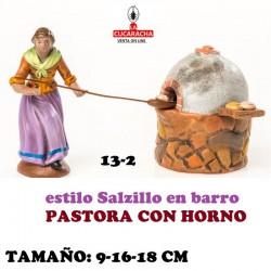 Figuras Belen Estilo Salzillo en barro Grupos-13-PASTORA CON HORNO 9-16-18 CM