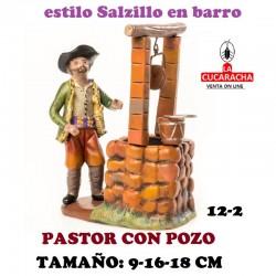Figuras Belen Estilo Salzillo en barro Grupos-12-PASTOR CON POZO 9-16-18 CM