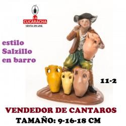 Figuras Belen Estilo Salzillo en barro Grupos-11-PASTOR VENDIENDO CANTAROS 9-16-18 CM