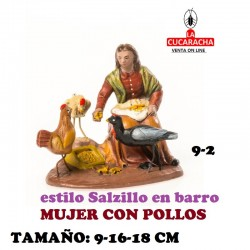 Figuras Belen Estilo Salzillo en barro Grupos-9-MUJER CON POLLOS 9-16-18 CM